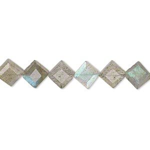 bead, labradorite (natural), 6-9mm hand-cut beveled flat diamond, b+ grade, mohs hardness 6 to 6-1/2. sold per 8-inch strand.