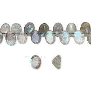 bead, labradorite (natural), 6x4mm-7x5mm top-drilled faceted oval, b grade, mohs hardness 6 to 6-1/2. sold per 5-inch strand, approximately 45 beads.