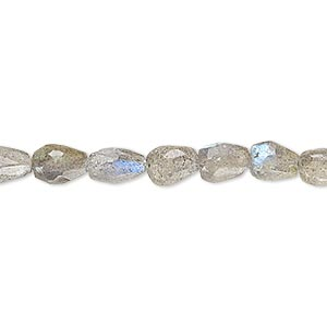 bead, labradorite (natural), 6x4mm-9x6mm hand-cut faceted teardrop, b- grade, mohs hardness 6 to 6-1/2. sold per 6-inch strand.