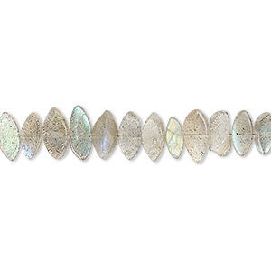 bead, labradorite (natural), 7x3mm-10x5mm hand-cut flat marquise, b grade, mohs hardness 6 to 6-1/2. sold per 13-inch strand.