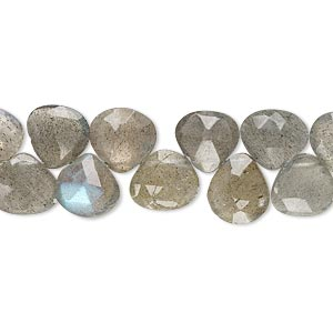 bead, labradorite (natural), 8mm-10x9mm hand-cut top-drilled faceted puffed teardrop, b- grade, mohs hardness 6 to 6-1/2. sold per 4-inch strand.