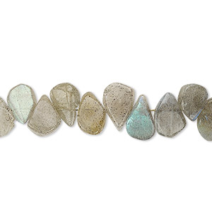 bead, labradorite (natural), 8x5mm-11x7mm hand-cut top-drilled flat teardrop, c grade, mohs hardness 6 to 6-1/2. sold per 13-inch strand.