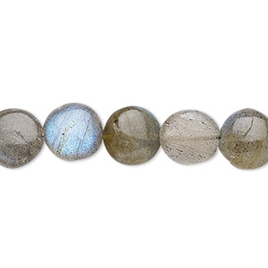 bead, labradorite (natural), 9-10mm hand-cut puffed flat round, b grade, mohs hardness 6 to 6-1/2. sold per 6-inch strand.