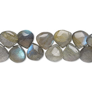 bead, labradorite (natural), 9-10mm hand-cut top-drilled puffed teardrop, b grade, mohs hardness 6 to 6-1/2. sold per 7-inch strand.
