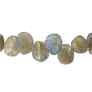 bead, labradorite (natural), 9x6mm-11x8mm hand-cut top-drilled flat oval, c grade, mohs hardness 6 to 6-1/2. sold per 13-inch strand.