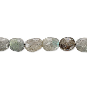 bead, labradorite (natural), 9x7mm-12x8mm hand-cut tumbled faceted puffed oval, c grade, mohs hardness 6 to 6-1/2. sold per 13-inch strand.