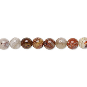 bead, laguna lace agate (natural), 6mm round, b grade, mohs hardness 6-1/2 to 7. sold per 16-inch strand.