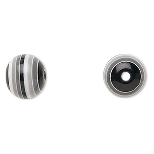 bead, laminated acrylic, black / grey / white, 12mm round. sold per pkg of 50.