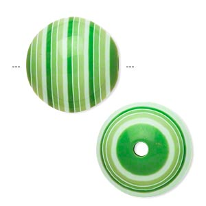bead, laminated acrylic, green and white, 20mm round. sold per pkg of 20.