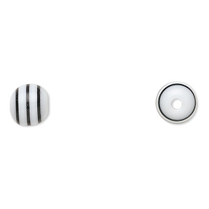 bead, laminated acrylic, white and black, 8mm round. sold per pkg of 100.