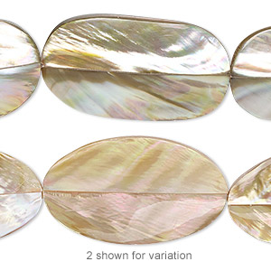 bead, laminated brown lip shell (assembled), 30x17mm-31x19mm double-sided oval, mohs hardness 3-1/2. sold per pkg of 5.