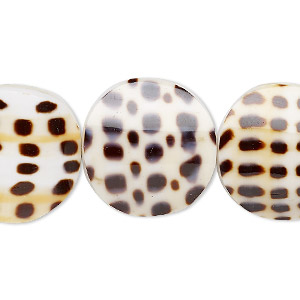 bead, laminated lettered cone shell (assembled), 20mm double-sided curved flat round, mohs hardness 3-1/2. sold per pkg of 5.
