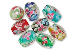 bead, lampwork glass, assorted color, 16x12mm oval. sold per pkg of 8.