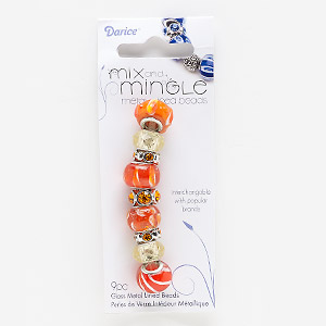 bead, lampworked glass / glass rhinestone / silver-finished pewter (zinc-based alloy), orange / white / light yellow, 11x4mm-16x12mm assorted rondelle, 4.5-5mm hole. sold per pkg of 9.