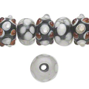 bead, lampworked glass, black / white / red, 14x8mm-16x10mm bumpy rondelle with assorted designs. sold per pkg of 20.