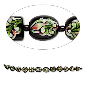 bead, lampworked glass, black and multicolored, 11x11x10mm-15x15mm double-sided multi-shape with hand-painted floral design. sold per 7-inch strand.