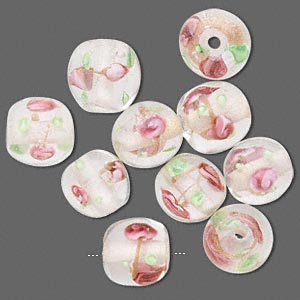 bead, lampworked glass, clear / green / pink, 10mm round with flowers. sold per pkg of 10.