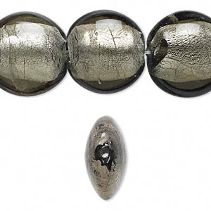 bead, lampworked glass, dark grey with silver-colored foil, 20mm puffed flat round. sold per 16-inch strand.