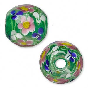 bead, lampworked glass, green and multicolored, 23x22mm barrel with flower and 4.3mm hole. sold individually.