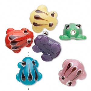 bead, lampworked glass, mixed colors, 14x11mm-16x14mm frog with 1.6-2.6mm hole. sold per pkg of 6.