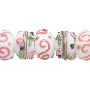 bead, lampworked glass, multicolored, 13x8mm-15x11mm bumpy rondelle with assorted flower and swirl designs. sold per pkg of 20.