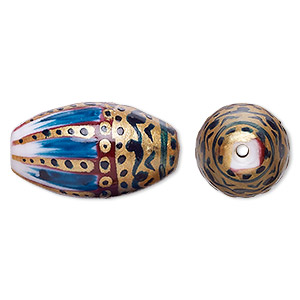 bead, lampworked glass, multicolored, 25x14mm oval with hand-painted abstract design. sold per pkg of 2.