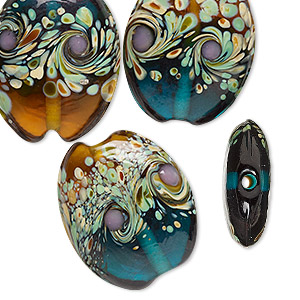 bead, lampworked glass, multicolored, 25x20mm double-sided puffed oval with swirls. sold per pkg of 4.