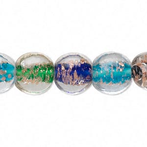 bead, lampworked glass, multicolored with gold-colored foil, 12mm puffed flat round. sold per 16-inch strand.