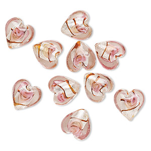 bead, lampworked glass, multicolored with silver-colored foil, 12x12mm puffed heart with line design. sold per pkg of 10.