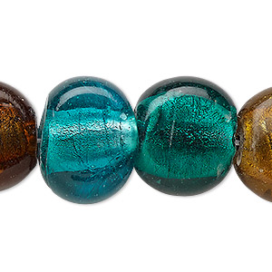 bead, lampworked glass, multicolored with silver-colored foil, 16-21mm puffed flat round. sold per 16-inch strand.