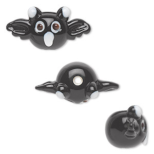 bead, lampworked glass, opaque black and white, 26x13mm bat. sold per pkg of 4.