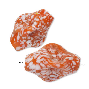 bead, lampworked glass, opaque orange and white, 33x22mm-42x28mm pinched 3-sided oval with spots and 3-5mm hole. sold per pkg of 2.