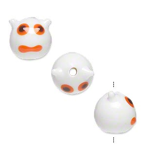 bead, lampworked glass, opaque white/black/orange, 13x12mm monster face. sold per pkg of 4.