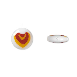 bead, lampworked glass, opaque white/red/yellow, 12mm double-sided flat round with nested hearts design. sold per pkg of 2.