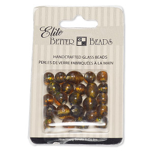 bead, lampworked glass, red / brown / amber brown with silver-colored foil, 7-8mm round / 9-10mm round / 12x9mm-13x10mm oval with dots. sold per pkg of 24.