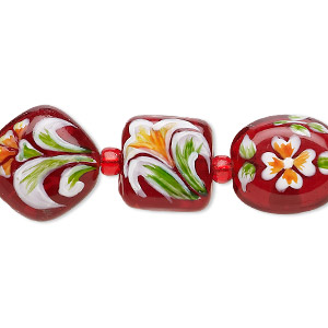 bead, lampworked glass, red and multicolored, 11x11x10mm-15mm double-sided multi-shape with hand-painted floral design. sold per 7-inch strand.