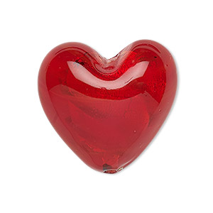 bead, lampworked glass, red with silver-colored foil, 28x28mm puffed heart. sold individually.