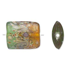 bead, lampworked glass, semitransparent green/brown/purple, 21x18mm double-sided puffed rectangle with swirls. sold per pkg of 4.