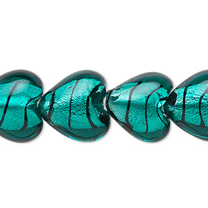 bead, lampworked glass, teal and black with silver-colored foil, 15x15mm puffed heart with lines. sold per 16-inch strand.