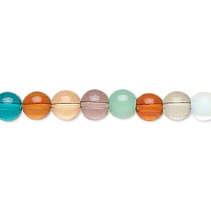 bead, lampworked glass, transparent and opaque multicolored, 5-6mm round. sold per 16-inch strand.