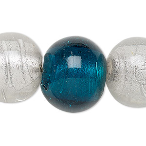 bead, lampworked glass, transparent clear and dark teal with silver-colored foil, 20-23mm round with 2-6mm hole. sold per 15-inch strand.