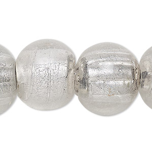 bead, lampworked glass, transparent clear with silver-colored foil, 19-22mm corrugated round with 2-6mm hole. sold per 15-inch strand.
