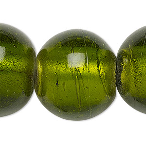 bead, lampworked glass, transparent moss green with silver-colored foil, 25-28mm round with 2-6mm hole. sold per 15-inch strand.