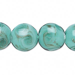 bead, lampworked glass, turquoise blue with copper-colored glitter, 16mm puffed round with swirls. sold per 16-inch strand.