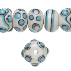 bead, lampworked glass, white / blue / black, 14x9mm-17x10mm bumpy rondelle with assorted designs. sold per pkg of 20.