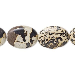 bead, landscape stone (natural), 18x13mm flat oval, b grade, mohs hardness 3-1/2 to 4. sold per 16-inch strand.