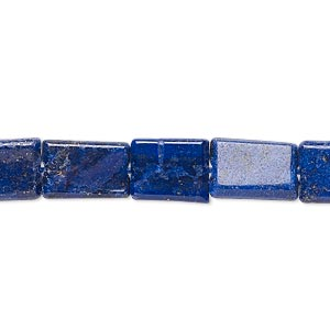 bead, lapis lazuli (dyed), 10x7mm-16x9mm hand-cut flat rectangle, c grade, mohs hardness 5 to 6. sold per 13-inch strand.