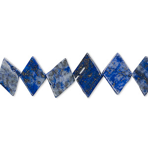 bead, lapis lazuli (dyed), 11x8mm-14x10mm hand-cut flat diamond, c grade, mohs hardness 5 to 6. sold per 13-inch strand.
