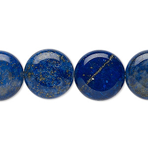 bead, lapis lazuli (dyed), 16mm puffed flat round, b grade, mohs hardness 5 to 6. sold per 15-inch strand.