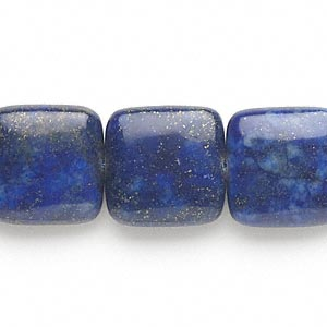 bead, lapis lazuli (dyed), 16x16mm-17x17mm puffed square, c grade, mohs hardness 5 to 6. sold per 15-inch strand.